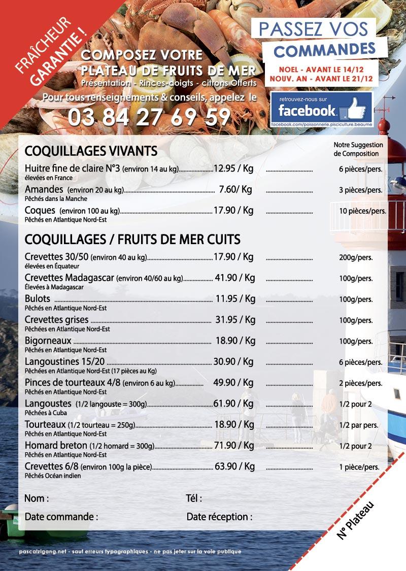 Offre Noël 2019 - Poissons, crustacés Fruits de Mer