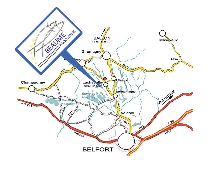 Plan d'accès de la poissonnerie Beaume