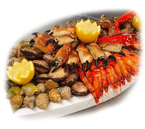 Suggestion de composition de plateau fruits de mer : huitres, coquillages, homard, langoustes, tourteau